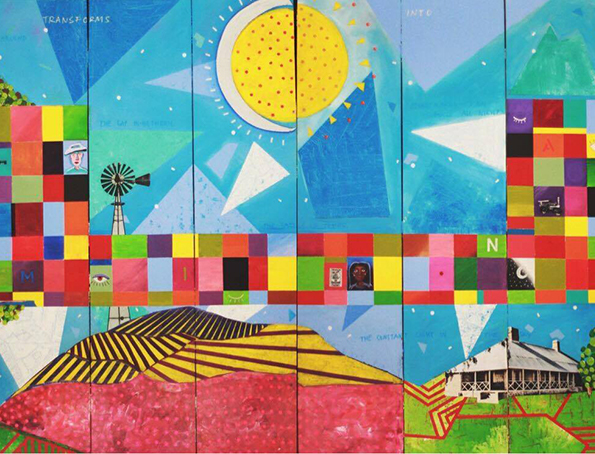 A colourful painting with squares and a sun